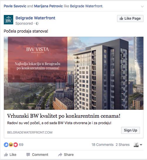 Belgrade Waterfront Facebook reklama